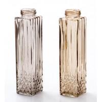 Botella vidrio alta relieve en 2 colores beige o marrón 6x6x24h cm