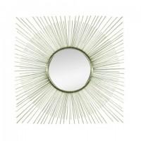 Espejo cuadrado marco metálico dorado decorativo Rayos Sol 71x71 cm