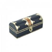 Caja joyero madera negra y metal dorado estilo antiguo 13x5,5x5,5cm