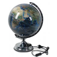 Globo bola del mundo con luz azul con pie plateado 45x30cm