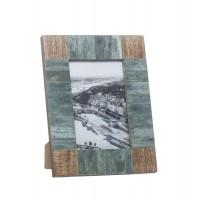Marco de fotos en madera y hueso tablas verde agua 10x15cm