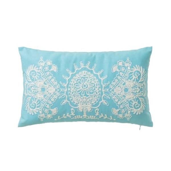 Cojin rectangular con relleno azul claro con bordado crema Love Trends 30x50cm