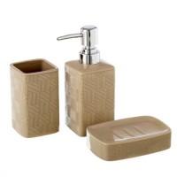 Set baño 3 piezas cerámicas beige cuadrados rayas: dispensador jabón, portacepillos y jabonera