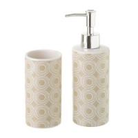 Set baño 2 piezas cerámicas beige estampado círculos blancos: dispensador jabón y portacepillos