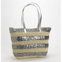 Bolso playa de paja y lentejuelas plata 45x15x33h cm