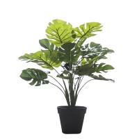 Planta artificial Split Philo costilla de Adán en maceta plástica negra 45h cm