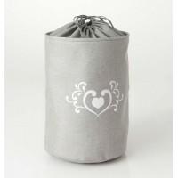Cesto cubo redondo para ropa gris corazón Charm 38xh54cm