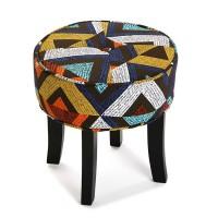 Taburete puff redondo patas madera y textil estampado étnico triángulos de colores Dover Ø36x36h cm
