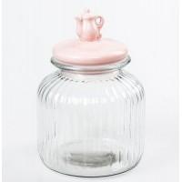 Bote cristal con tapa cerámica rosa con tetera 18x18x25cm