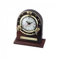 Reloj madera y latón de sobremesa escritorio vintage 13,5x7,5x16 cm