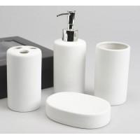Set baño cerámico 4 piezas liso blanco: dispensador jabón, vaso, vaso cepillos y jabonera