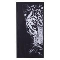 Lienzo cuadro cabeza de leopardo en blanco y negro 117x57 cm