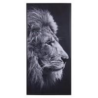 Lienzo cuadro cabeza de león en blanco y negro 117x57 cm