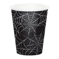 Vasos papel negros con telas de araña Halloween 8 unidades