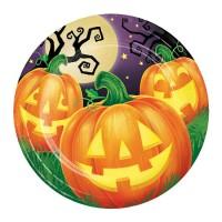 Platos papel redondos 23cm 8 unidades Calabazas Halloween Pumpkin Party