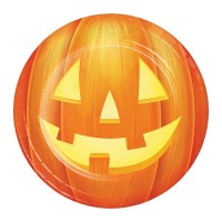 Platos papel redondos 18cm 8 unidades Calabazas Halloween Pumpkin Party