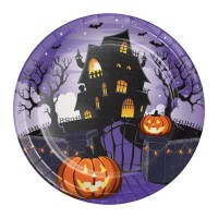 Platos papel redondos 23cm 8 unidades Calabazas Halloween Haunted House