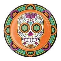 Platos papel redondos 23cm 8 unidades Calavera Mexicana decorada Día de los Muertos