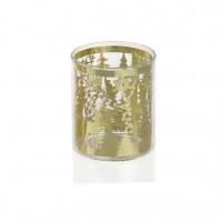Tealight navideño árboles y ciervos dorados Ø7x8h cm