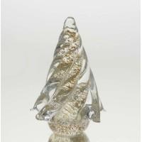 Adorno cristal árbol de navidad dorado grande 15h cm