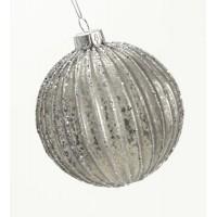 Bola árbol de Navidad cristal plata con purpurina 2 modelos 8cm