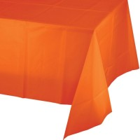 Mantel plástico naranja liso Halloween 274x137cm
