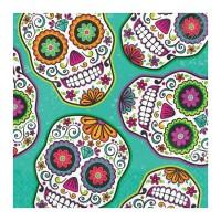 Servilletas de papel cuadradas Calaveras Mejicanas decoradas colores 16 unidades 33x33cm