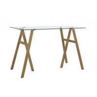 Mesa escritorio cristal templado transparente y patas caballete efecto madera Charlie 140x60x75h cm