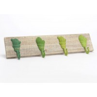 Perchero de pared en madera con 4 colgadores maceta cactus verde 60x13h cm