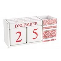 Calendario madera blanco y rojo copos de nieve 18,5x6,5x8,50h cm