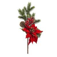 Rama navideña con flor Ponsetia, piña y bayas rojas 43cm