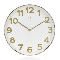 Reloj de pared dorado esfera blanca Ø30 cm