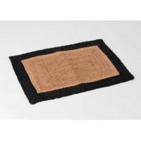 Felpudo fibra de coco rectangular en yute natural y borde negro 70x45 cm
