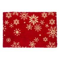 Felpudo rectangular navideño fibra de coco rojo con copos de nieve 60x40 cm