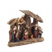 Belén navideño Misterio resina Miracle con Reyes Magos y ángel con luz 23,4x7x20,4h cm