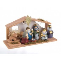 Belén navideño Misterio infantil en madera y cerámica Brio con luz 29,5x11,5x16,5h cm