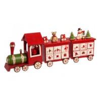 Calendario de adviento tren de Papa Noel con 2 vagones osito y muñeco nieve con regalos 47,5x9x11,5h cm