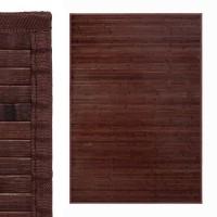 Alfombra tablillas bambú color marrón chocolate 140x200cm