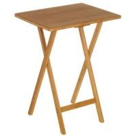 Mesa auxiliar plegable madera bambú 49,50x37,50x65,50h cm