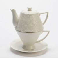 Tea for one con plato porcelana blanca dibujo arabesco Plaza 225ml + 360ml
