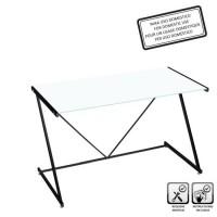 Mesa escritorio cristal templado blanco 120x60x75cm
