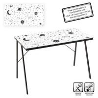 Mesa escritorio cristal templado estampado planetas en blanco y negro 110x60x75cm