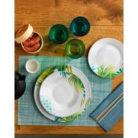 Vajilla porcelana hojas de palmera verdes y azul Swami Tognana 18 piezas