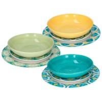 Vajilla porcelana dibujo arabesco azul y amarillo Amalfi Tognana 18 piezas