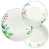 Vajilla porcelana hojas en color verde y marrón Mandy Tognana 18 piezas