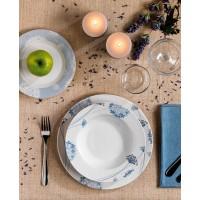 Vajilla porcelana flores en color azul claro Iris Tognana 18 piezas
