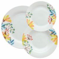 Vajilla porcelana flores colores amarillo, verde y azul Cloe Tognana 18 piezas