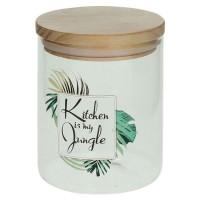 Bote de cristal dibujo hojas palmera Kitchen is my jungle con tapa hermética de bambú Ø10x12,5h cm