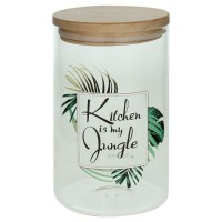 Bote de cristal dibujo hojas palmera Kitchen is my jungle con tapa hermética de bambú Ø10x17h cm