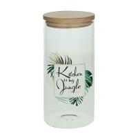 Bote de cristal dibujo hojas palmera Kitchen is my jungle con tapa hermética de bambú Ø10x21,5h cm